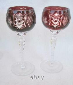 6 Ajka Crystal Marsala cut to clear Wine Hock Multi 8.25 Ruby Amethyst Cobalt