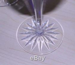 6 Ajka Hungary Cadessia Cobalt Blue & Crystal Cut to Clear Wine Glasses Goblet