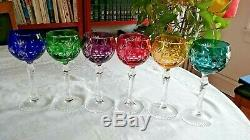 6 Ajka Marsala 7-3/4 Crystal Wine Goblets Bohemian Cut To Clear 6 Colors