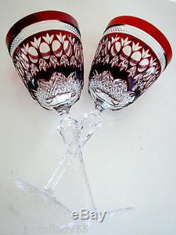 6 Ajka Parisian Ruby Red Cased Cut To Clear Lead Crystal 8 3/4 Wine Goblets