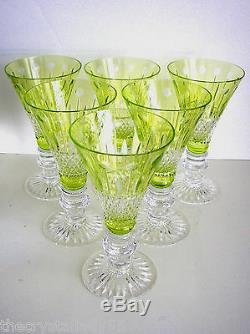 6 Ajka Xenia Lime Paridot Green Cased Cut To Clear 7 Wine Water Champagne Beer