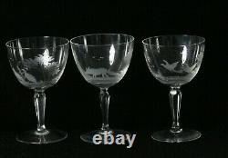 6 Antique Moser Rowland Ward Engraved Crystal Wine Glasses 5 High