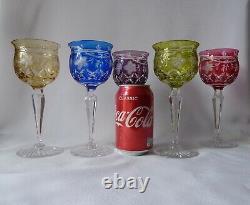 6 Antique Tudor Crystal Hock Wine Glasses, Etched Grapevine, Signed h18,5cm