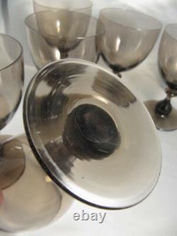 6 Art Deco Vintage Holmegaard Smoke Topaz Primula Red Wine glasses Jacob Bang