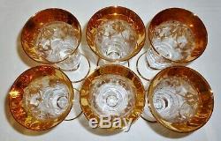 6 Arte Italica AIZ2 Gold Encrusted Crystal goblets FLUTES parfaits Medici 7-1/2