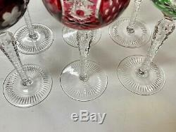 6 BOHEMIAN CUT TO CLEAR WINE HOCK Goblets 8-1/2 T AJKA MARSALA Multi Colors