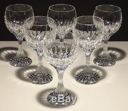 6 Baccarat Crystal Massena Claret Wine Glasses Signed 6 3/8