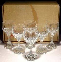 6 Baccarat Crystal Massena Water #2 Glasses Oversized Wine Signed 7 In Box