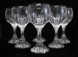 6 Baccarat France Crystal Art Glass Claret Wine Goblets in Massena