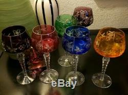 6 Bohemian Crystal Wine Glasses- Multicolor Glasses-Cut to Clear-Excellent Cond