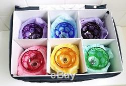 6 Bohemian Crystal Wine Glasses +STORAGE BOX Multicolor Cut To Clear Holiday