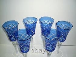 6 Cobalt Blue Cut to Clear Crystal Wine Glasses 11 Tall Stemware Czech Bohemian