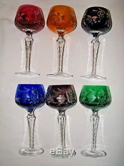 6 Colored NACHTMANN Traube Cut To Clear Crystal 8.25 Large WINE Hock Glasses