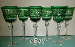 6 Crystal cut Glass Emerald green bohemian hock Red / White wine Goblet glasses