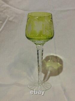 6 Cut To Clear Crystal 9 Wine Hocks Bohemian-czech Stunning Pattern