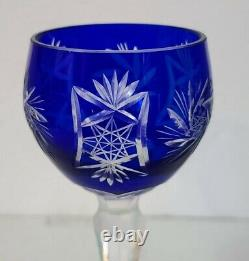 6 Czech Bohemian Crystal Hock Wine Glasses Cobalt Blue Cut To Clear, Old 8 1/8