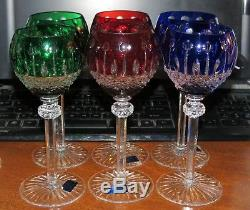 6 GODINGER 8 Wine Glasses Cut to Clear Crystal Hungary Red/Blue/Green MINT
