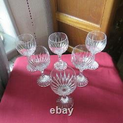6 Glasses Wine White IN Crystal Baccarat Model Massena H 5 7/8in Signed