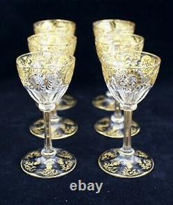 6 Gorgeous Antique Bohemian Moser Etched Glass Gilt Gold Cordial/Wine Glasses