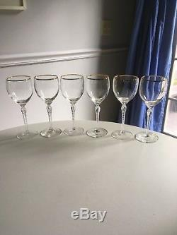 6 Hard to Find Lenox Crystal Monroe Wine Goblets with Gold Trim
