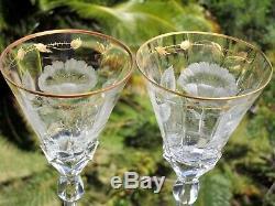 6 MOSER Rose PAULA 10 1/2 8oz Wine Glasses Intaglio Cut Crystal Gold Gilding