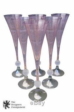 6 Mikasa MARW Italian Pink Crystal Glass Champagne Flutes Wine Glasses Cut 12