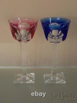 6 Moser BRISTOL Crystal Different Colored Cut to Clear Wine Hock Glasses