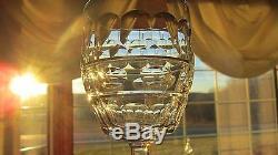 6 Pcs Val St Lambert Blarney Clear 4 1/2h Cut Crystal Wine Goblets
