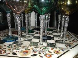 6 RARE STUART Air twist Harlequin bowl 7 1/2 Hock WIne glasses AIR TWIST