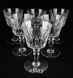 6 Rare Baccarat Crystal Ile de France Wine Goblets Glasses French Signed