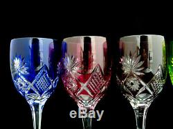 6 Rare Vintage Nachtmann Multi Colored Cut to Clear Crystal Wine Glasses NCM11