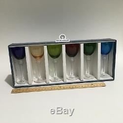 6 Saint St Louis Grand Lieu Crystal Colored Wine Hocks Colorful Vintage VG SEE