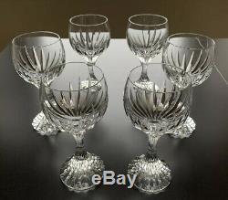 6 Signed Baccarat Crystal Massena Red Wine Glasses 6.4 Mark France Stemware