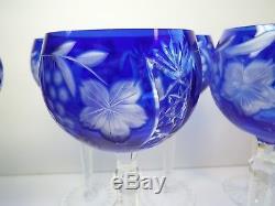6 Six Ajka Cobalt Cut to Clear Crystal Wine Goblets Marsala Glasses blue