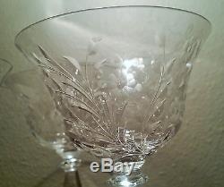 6 Thomas Webb cut crystal goblet wine cordial vtg english glass stemware flower