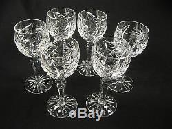 6 Vintage Cut Crystal Wine cordial cocktail Star Pattern glasses Pinwheel Star