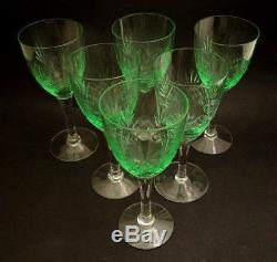 6 Vintage Holmegaard Cut Crystal Else White Wine Glasses Uranium UV Glow
