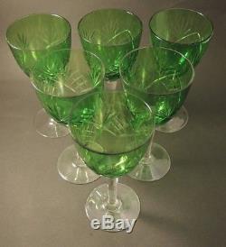 6 Vintage Holmegaard Cut Green Crystal Else (2) 1923 White Wine Glasses Set 2