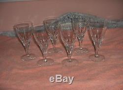 6 Vintage Skruf Fine Crystal Sweden Wine Glasses SKR6 Thumbprints RARE