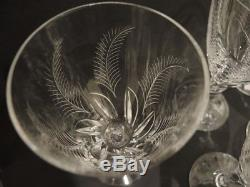 6 Vintage Stuart Crystal Ellesmere large red wine water goblets Lu Kny 1930's