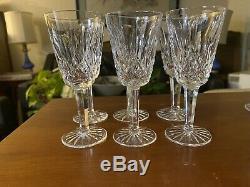 6 Vintage Waterford Crystal Lismore Wine Champagne Flutes Glasses Goblets Claret