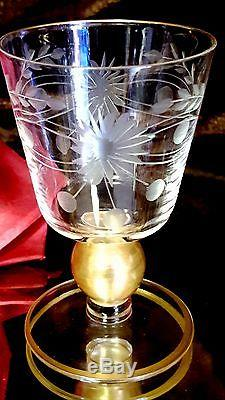 6 Vntg 3 oz CUT FLOWER Crystal Wine or Cordial Glasses UNIQUE GOLD BALL STEMS+