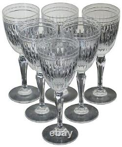 6 Waterford Crystal Hanover Clear Trim Wine Glasses Goblets Marquis 8