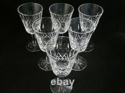 6 Waterford Crystal White Wine Goblets Glasses 5 1/2 Lismore old mark IRELAND