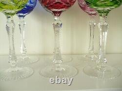 6 X Bohemian Crystal Overlay Hock Wine Glasses