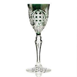 6 c. 1960s Val St. Lambert Richepin Saarlouis overlay crystal wine hock glasses