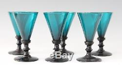 6x antique 18th C. White Wine Glass, blue green / petrol crystal, made ca. 1780