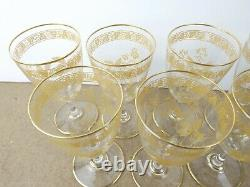 7 Antique Baccarat Crystal Wine Glasses #4360 Gold Leaves & Flowers (ie@b10)