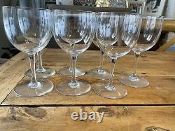 7 Baccarat Crystal Water Wine Glass, Montaigne Non-optic Pattern, France 6 3/8