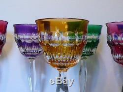 7 French St. Louis Baccarat Multicolored Cut To Clear Crystal Wine Glasses